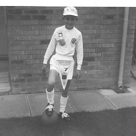 A very young author, aged 10 years, dressed up in my Leeds United kit.