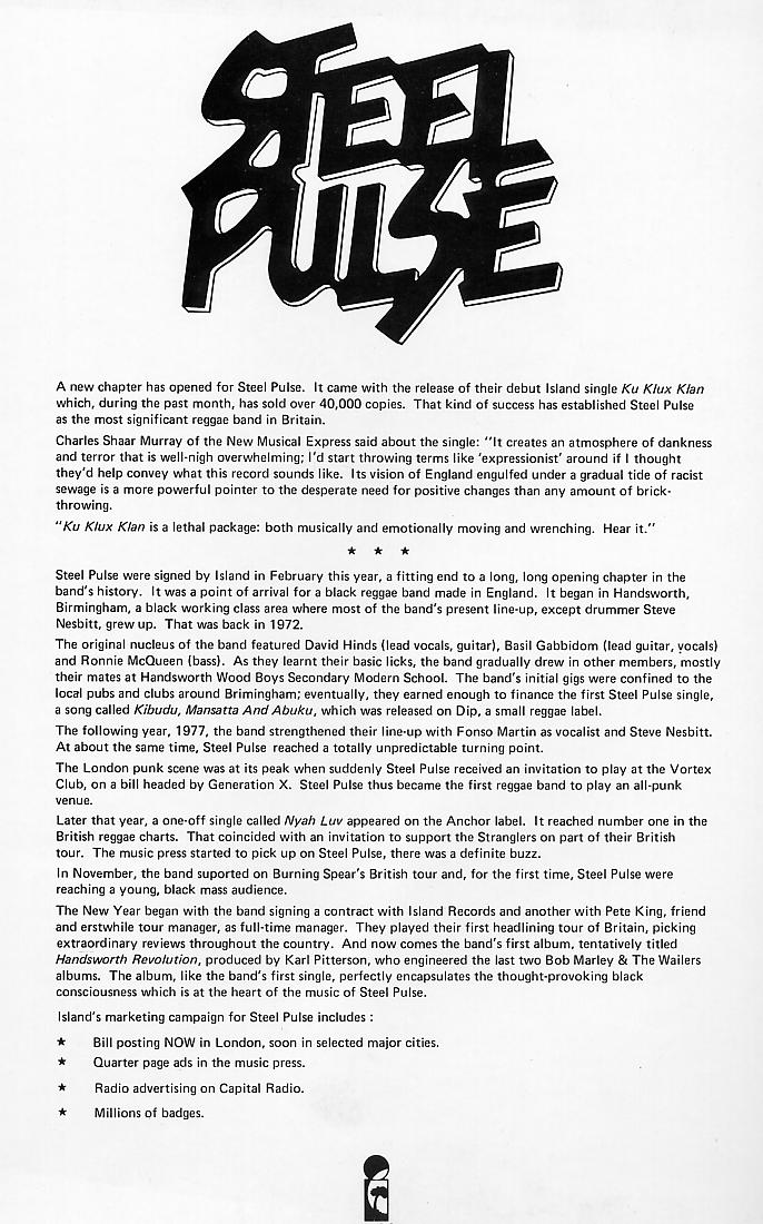 A Steel Pulse press release-cum-poster from June 1978 {click to enlarge}