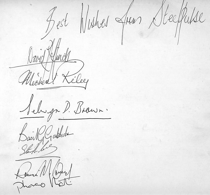 Steel Pulse band autographs, collected on 2 June 1978 at Cheltenham Town Hall {click to enlarge}.
