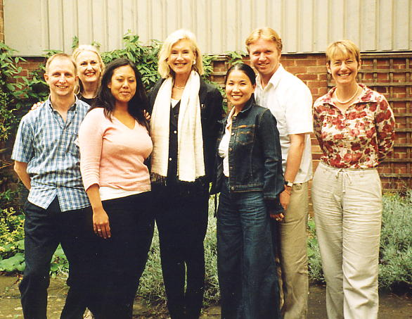 The Magic of Cambodia 2004 line-up: LtoR: Andy Brouwer, Dawn Rooney, Li-Da Kruger, Denise Heywood, Kulikar & Nick Ray, Caroline Nixon.