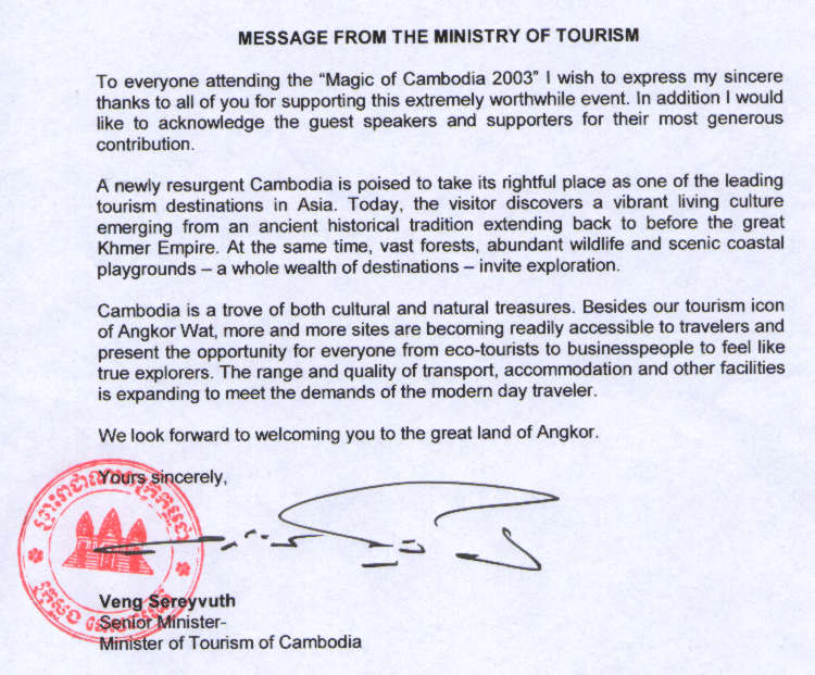 Message of Support from the Cambodian Minister of Tourism.