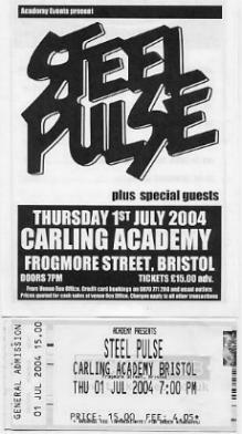 Poster and ticket from the Bristol Academy gig.