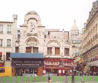 The Elysee Montmartre venue, with Sacre-Coeur on the right.
