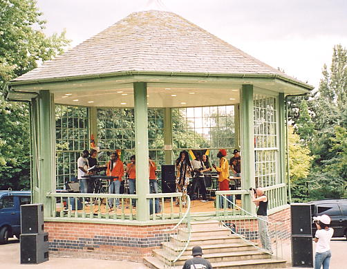 The Arboretum stage with Percy Dread and his band performing.