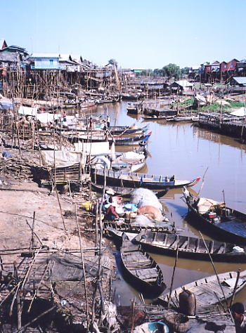 The Roluos river feeds into Kompong Phluk and then the Tonle Sap lake.