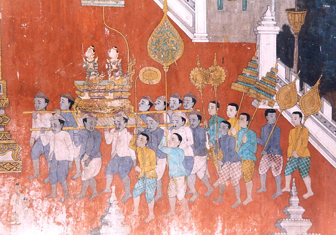 A section of the colourful but damaged mural at the Silver Pagoda.