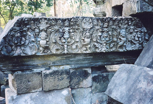 One of the few remaining undamaged lintels at Preah Khan.
