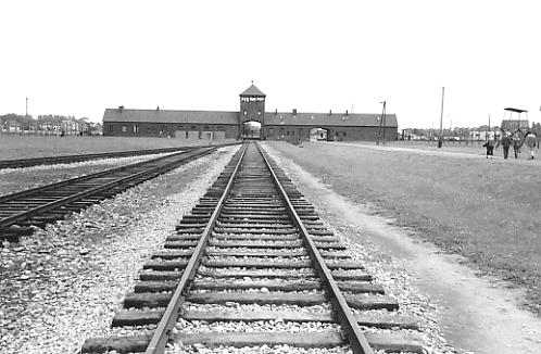 The railway spur leading to the main guard tower at Birkenau.