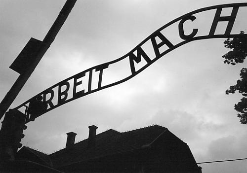 Arbeit Macht Frei - 'Work shall set you free' above the main gate to Auschwitz.