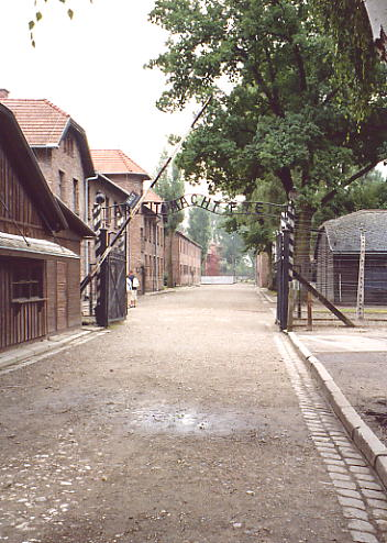 The main gate into Auschwitz.
