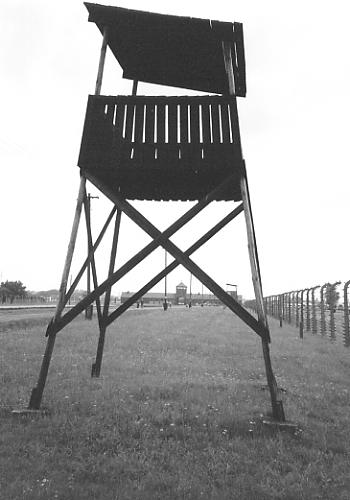 A watch-tower at Birkenau.