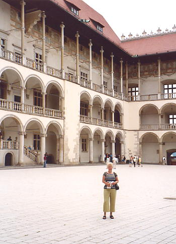 Sue in the courtyard of Wawel Castle, Krakow.