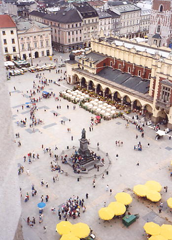 Birds' eye view from St Mary's Church of Rynek Glowny square.