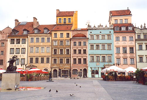 Colourful houses in the heart of Warsaw's old quarter.