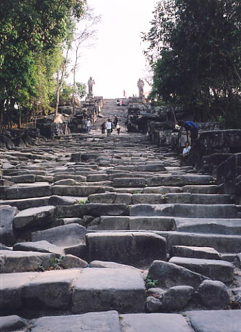 162 steps take you from the direction of the Thai border to Gopura V and the start of your visit to Preah Vihear.