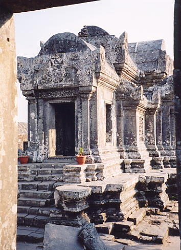 The mandapa of the central sanctuary at Preah Vihear. The central tower is in a collapsed state.
