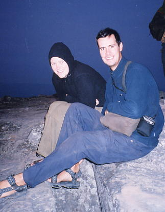 Beth & Scott wait in the darkness and the cold, for the sunrise at Preah Vihear.