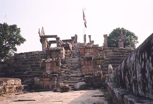 The first gopura you reach at Preah Vihear (known as Gopura V), from the top of the long naga staircase.