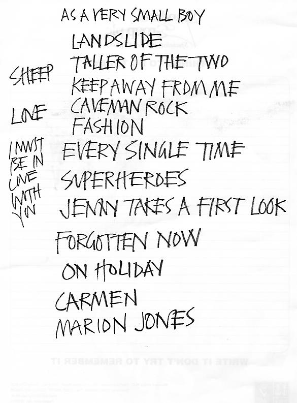 The first-half set-list from the 17/12/05 Cry No More Christmas Cracker. {click to enlarge}