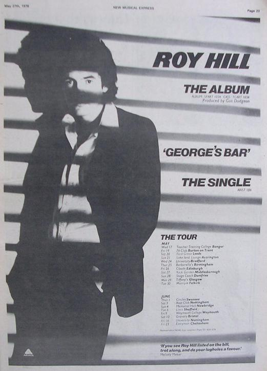 An advert in the NME in May 1978 for the forthcoming Roy Hill tour and record releases (photo credit: Paul Stanley)