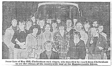 A coachload of Roy Hill fans make their way to London in Feb 1978 (click to enlarge. Photo: Glos Echo)