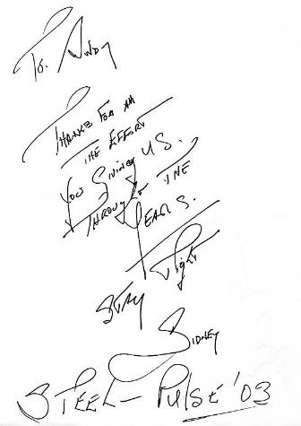 Sid Mills autograph - Aug 2003 [courtesy Andy Brouwer]
