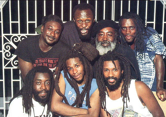 Steel Pulse line-up for High Times (photo: Jan Salzman). Alvin Ewen, Selwyn Brown, Grizzly Nisbett, Jimmy Haynes; Sid Mills, David Hinds and Phonso Martin.