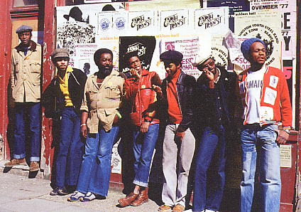 May 1978 Steel Pulse on a shopping expedition. Photo: Adrian Boot [scanned from 20th Century Masters cd]