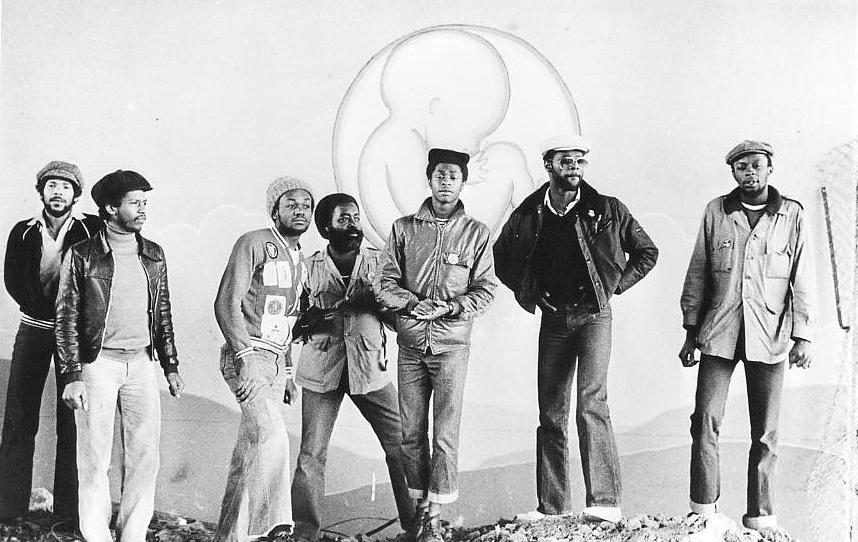 Steel Pulse line-up in May 1978 (photo: Adrian Boot, Island Records publicity shot)