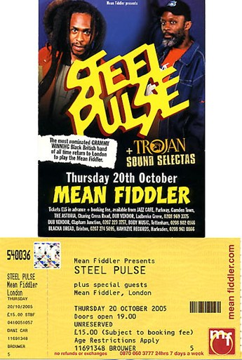 A concert flyer and ticket from The Mean Fiddler, London gig.