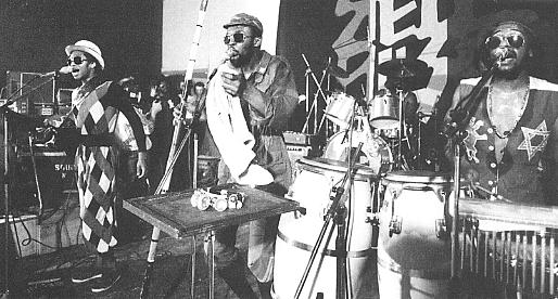 Steel Pulse on stage in the early 80's. Photo: Adrian Boot.