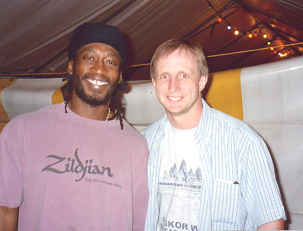 Conrad Kelly with the author, Andy Brouwer at Reggae Sundance, Aug 2003.