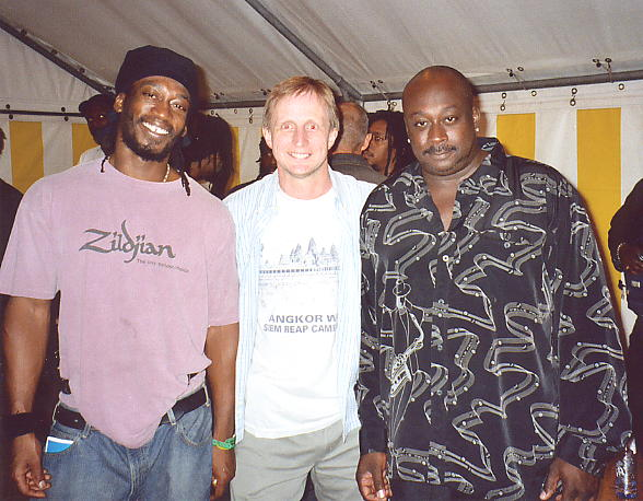 Steel Pulse's drum & bass in the shape of Conrad Kelly and Alvin Ewen, with the author in between.
