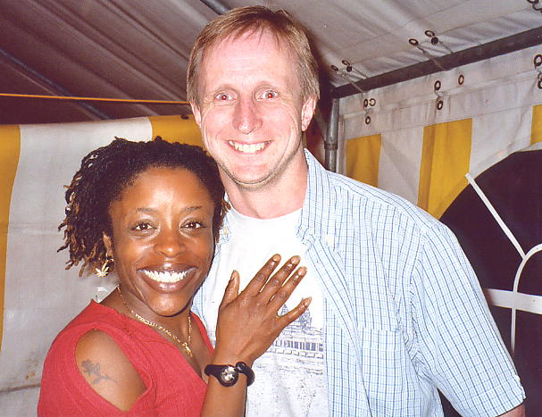Donna, in a typically ebullient mood, with the author at the Reggae Sundance Festival in 2003 (photo: Andy Brouwer: click to enlarge)