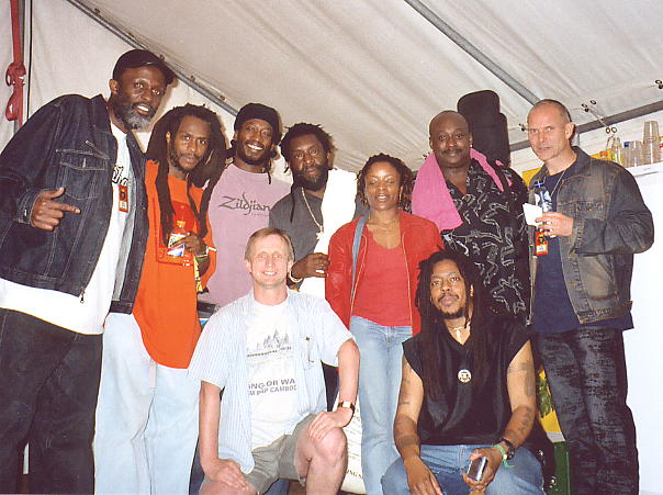 Steel Pulse make me feel welcome backstage at Reggae Sundance, August 2003.