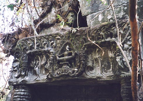 An usual lintel with two figures fighting, one of which is upside down, at Prasat Bangkoy North.