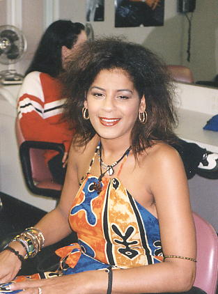 Sylvia Tella, backstage, during her time with Steel Pulse [photo: Grizzly Nisbett]