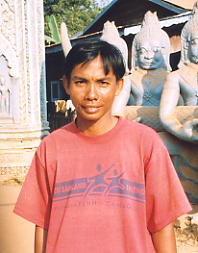 Tom, real name Thourk, operates outside the Boddhi Tree Guesthouse in Phnom Penh - photo Jan 2005.