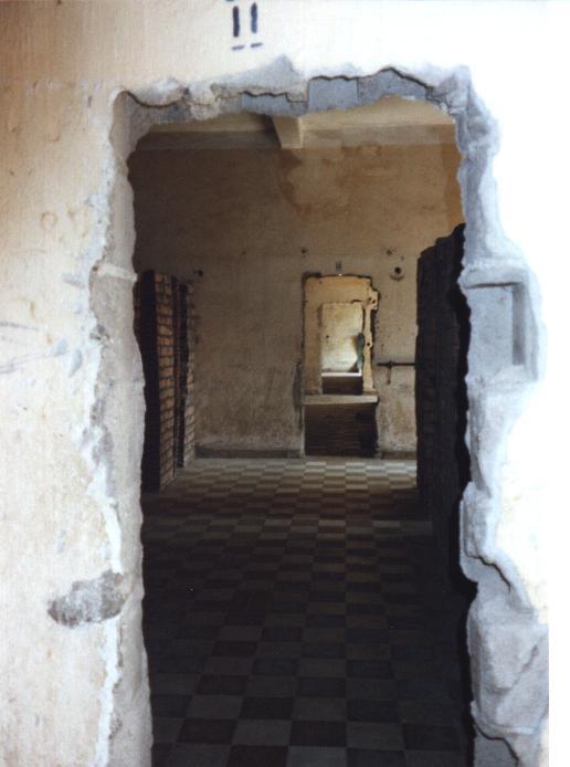 A man-made corridor through the detention rooms