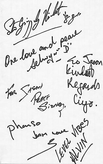 This autograph sheet comes from their 1988 tour of the USA and Canada.