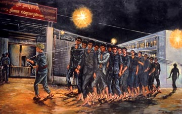 A scene depicting prisoners at S-21.