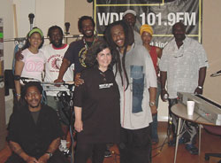 Steel Pulse at WDET Detroit. LtoR: Moonie, Traciana, Sid, Conrad, Judy Adams, David, Selwyn, Melanie, Alvin.