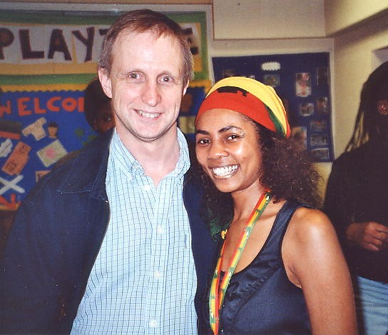 The author and Yaz after her performance at the Newtown Community Centre, 6 May 2002.