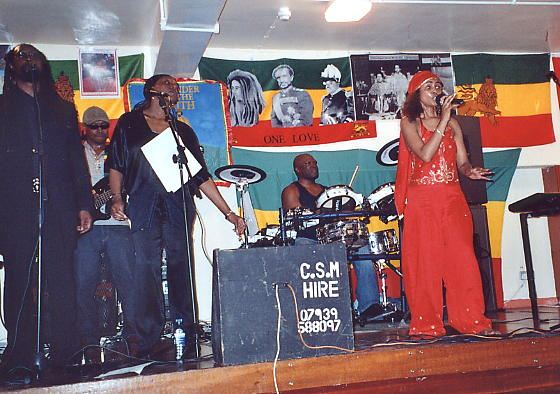 Yaz Alexander on stage with Cool$hade, Jean Mclean and Sensi at Newtown Community Centre, Newtown, Birmingham, 6 May 2006.